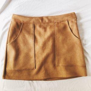 Camel Suede Mini Skirt